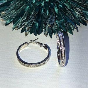 NWT 925 Sterling Silver Diamond Hoops
